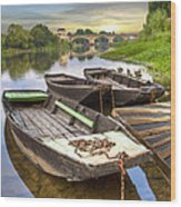 Rowboats On The French Canals Wood Print by Debra and Dave Vanderlaan