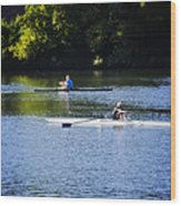 Rowing In Philadelphia Wood Print by Bill Cannon