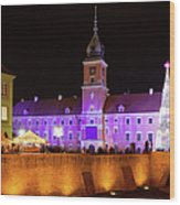 Royal Castle In Warsaw At Night Wood Print