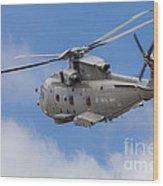 Royal Navy Eh-101 Merlin In Flight Wood Print