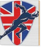 Runner Sprinter Start British Flag Shield Wood Print
