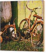Rusty Bikes Wood Print