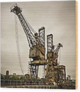 Rusty Cranes At Battersea Power Station Wood Print