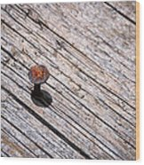 Rusty Nail In An Old Wooden Board Wood Print