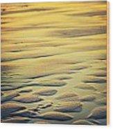 Rythm On Sand With Wave On Sea Coast At Sunset Color Wood Print