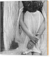 Sad Angel Woman Wood Print