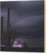 Saguaro Cactus Sunset At Dusk With Lightning Arizona State Usa Wood Print