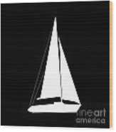 Sailboat In Black And White Wood Print