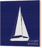 Sailboat In Navy And White Wood Print