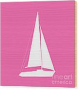 Sailboat In Pink And White Wood Print