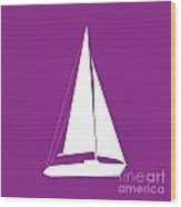 Sailboat In Purple And White Wood Print