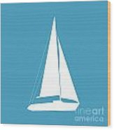 Sailboat In White And Turquoise Wood Print