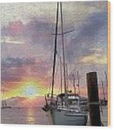 Sailboat Wood Print by Jon Neidert