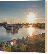 Sailboat Pier In Lake Michigan Nature Scenary Near Racine Wisconsin Wood Print