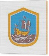 Sailing Ship Galleon Crest Retro Woodcut Wood Print