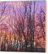 Red Sky In Morning Wood Print