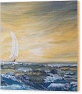 Sails At Sunset Wood Print