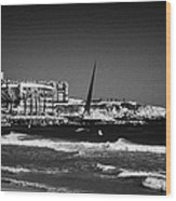 Salou Waterfront Properties And The Els Pilons Sculpture On The Costa Dorada Catalonia Spain Wood Print