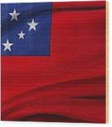 Samoan Flag Wood Print