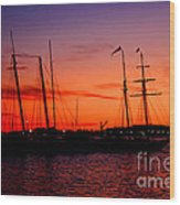 San Diego Harbor Sunset Wood Print