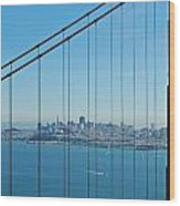 San Francisco Through Golden Gate Bridge Wood Print by Twenty Two North Photography
