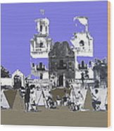 San Xavier Mission Sketched By Art Students C. 1930 Tucson Arizona Wood Print