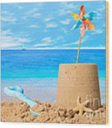 Sandcastle On Beach Wood Print
