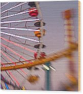 Santa Monica Pier Ferris Wheel And Roller Coaster At Dusk Wood Print