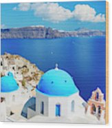 Santorini Island, Greece, Beautiful Wood Print