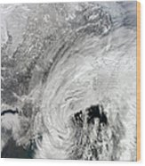 Satellite View Of A Large Noreaster Wood Print