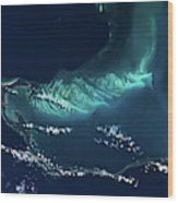 Satellite View Of Turks And Caicos Wood Print
