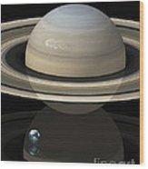 Saturn And Earth, Artwork Wood Print