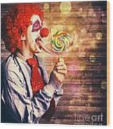 Scary Circus Clown At Horror Birthday Party Wood Print