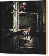 Scary Clown Clawing Window Wood Print