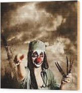 Scary Clown Doctor Throwing Knives Outdoors Wood Print