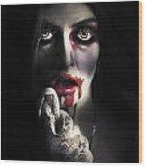 Scary Vampire Woman. Bloody Halloween Horror Wood Print