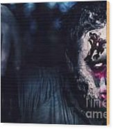 Scary Zombie Looking Gravely Ill. Monster Disease Wood Print