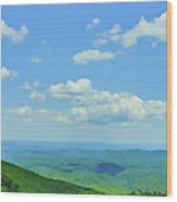 Scenic View Of Mountain Range, Blue Wood Print