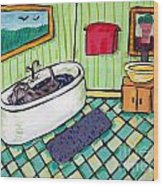 Schnauzer Taking A Bath Wood Print by Jay  Schmetz