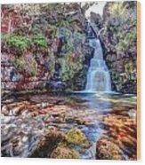 Scotish Waterfall Hdr Wood Print