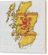 Scotland Painted Flag Map Wood Print