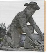Scuplture Of Gold Rush Miner Claude Chana Wood Print
