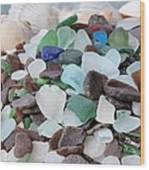 Sea Glass In Many Colors Wood Print
