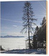 Sea Of Fog Over An Alpine Lake Wood Print