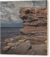 Sea Stack At North Cape On Prince Edward Island Wood Print