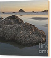 Sea Stacks At Sunset Wood Print