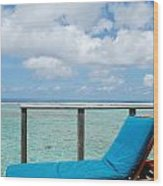 Seascape And Clouscape From Water Villa In Maldives Wood Print
