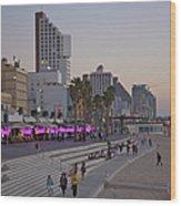 Seaside Promenade Of Tel Aviv At Dusk Wood Print