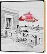 Seaside Sketch Wood Print
