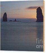 Seastacks At Cannon Beach, Oregon Wood Print
